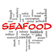 Seafood Word Cloud Concept in red caps — Stock Photo