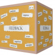 Feedback 3D cube Corkboard Word Concept — Stock Photo