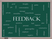Feedback Word Cloud Concept on a Blackboard — Stock Photo
