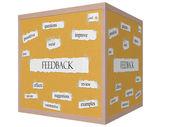 Feedback 3D cube Corkboard Word Concept — Zdjęcie stockowe