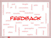 Feedback Word Cloud Concept on a Whiteboard — Stock Photo