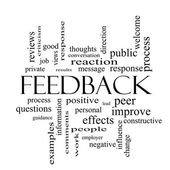 Feedback Word Cloud Concept in black and white — Stock Photo