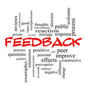 Feedback Word Cloud Concept in red caps — Stock Photo