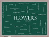 Flowers Word Cloud Concept on a Blackboard — Stock Photo