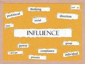 Influence Corkboard Word Concept — Stock Photo