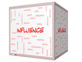 Influence Word Cloud Concept on a 3D cube Whiteboard — Stock Photo
