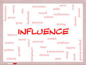 Influence Word Cloud Concept on a Whiteboard — Stock Photo