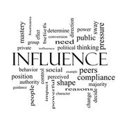 Influence Word Cloud Concept in black and white — Stock Photo