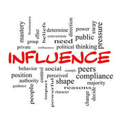 Influence Word Cloud Concept in red caps — Stock Photo