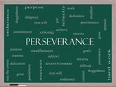 Perseverance Word Cloud Concept on a Blackboard — Stock Photo
