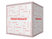 Perseverance Word Cloud Concept on a 3D cube Whiteboard — Stock Photo