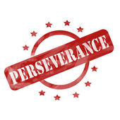 Red Weathered Perseverance Stamp Circle and Stars design — Stock Photo