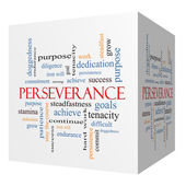 Perseverance 3D cube Word Cloud Concept — Stock Photo