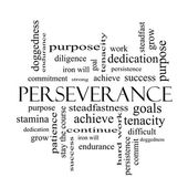 Perseverance Word Cloud Concept in black and white — Stock Photo