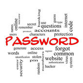 Password Word Cloud Concept in red caps — Stock Photo