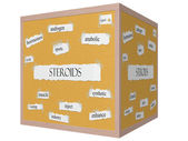 Steroids 3D cube Corkboard Word Concept — Stock Photo