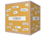 Tourism 3D cube Corkboard Word Concept — Photo