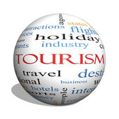 Tourism 3D sphere Word Cloud Concept — Stock Photo