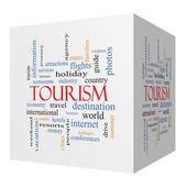 Tourism 3D cube Word Cloud Concept — Stock Photo