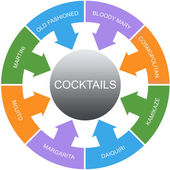 Cocktails Word Circles Concept — Stock Photo