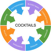 Cocktails Word Circle Concept — Stock Photo