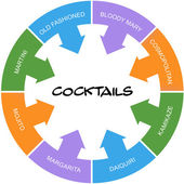 Cocktails Word Circle Concept Scribbled — Stock Photo