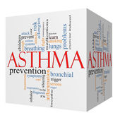 Asthma 3D cube Word Cloud Concept — Stockfoto