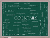 Cocktails Word Cloud Concept on a Blackboard — Stock Photo