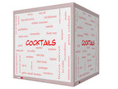 Cocktails Word Cloud Concept on a 3d Cube Whiteboard — Stock Photo