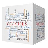 Cocktails 3D cube Word Cloud Concept — Stock Photo