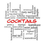 Cocktails Word Cloud Concept in red caps — Stock Photo