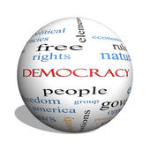 Demokratie 3d kugel-wort-wolke-konzept — Stockfoto