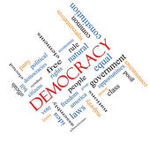 Democracy Word Cloud Concept Angled — Stock Photo