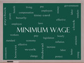 Minimum Wage Word Cloud Concept on a Blackboard — Stock Photo