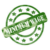 Green Weathered Minimum Wage Stamp Circle and Stars — Stock Photo