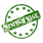 Green Weathered Minimum Wage Stamp Circles and Stars — Stock Photo