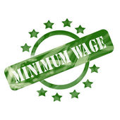 Green Weathered Minimum Wage Stamp Circle and Stars design — Stock Photo