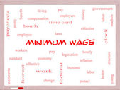 Minimum Wage Word Cloud Concept on a Whiteboard — Stock Photo