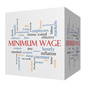 Minimum Wage 3D cube Word Cloud Concept — Stock Photo