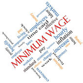 Minimum Wage Word Cloud Concept Angled — Stock Photo