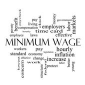 Minimum Wage Word Cloud Concept in black and white — Stock Photo