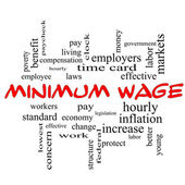 Minimum Wage Word Cloud Concept in red caps — Stock Photo