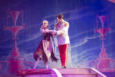 Cinderella in rags dress with Prince dancing — Stock Photo