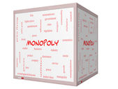 Monopoly Word Cloud Concept on a 3D cube Whiteboard — Stock Photo