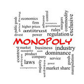 Monopoly Word Cloud Concept in red caps — Stock Photo