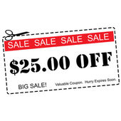 Twenty Five Dollars Off Sale Coupon — Stock Photo