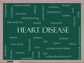 Heart Disease Word Cloud Concept on a Blackboard — Stock Photo
