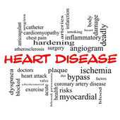 Heart Disease Word Cloud Concept in red caps — Stock Photo