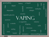 Vaping Word Cloud Concept on a Blackboard — Stok fotoğraf