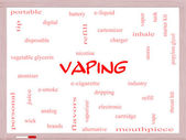 Vaping Word Cloud Concept on a Whiteboard — Stok fotoğraf